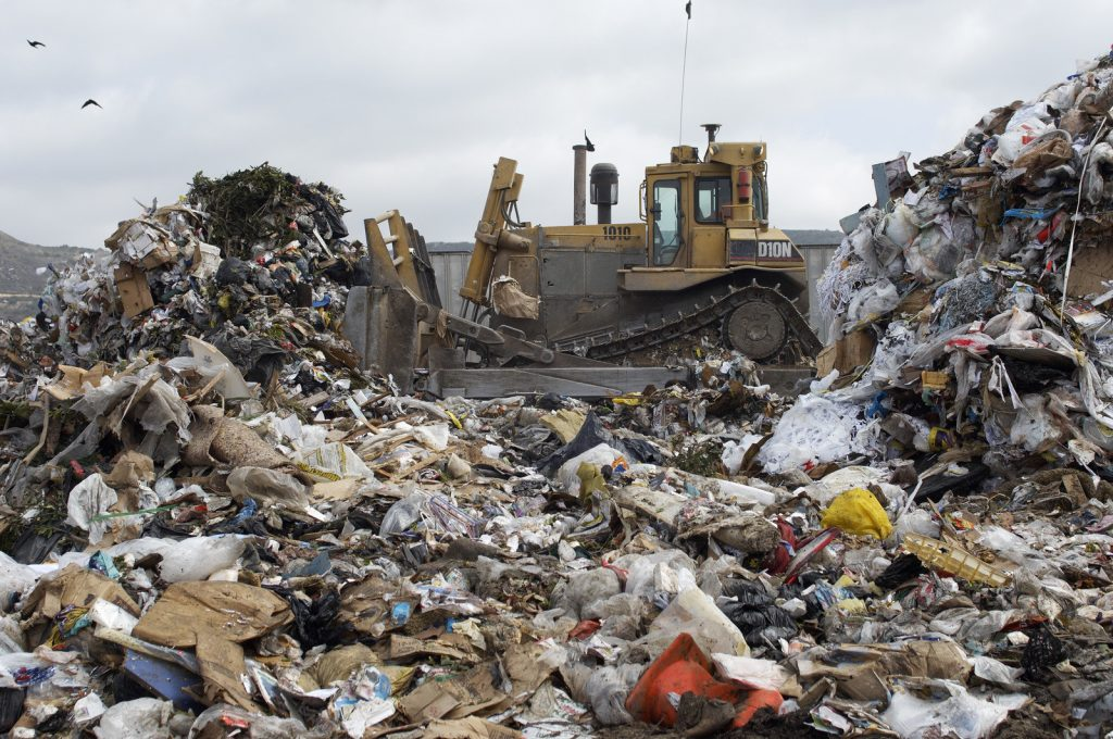 truck flattens the landfills